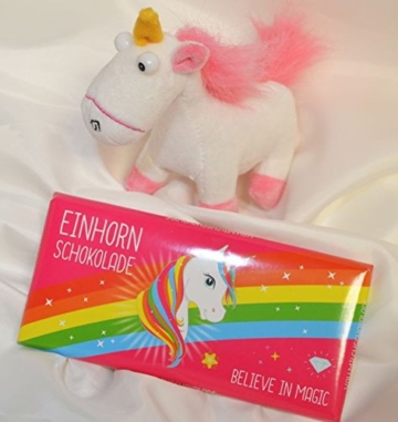 #3305 Geschenkset EINHORN : Plüschtier Einhorn, Einhorn Schokolade Regenbogen ca. 80 gr. - 1