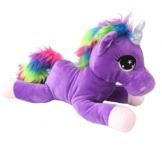 Einhorn Pferd mit großen Augen lila Plüschfigur Plüsch Kuscheltier Stofftier - 1