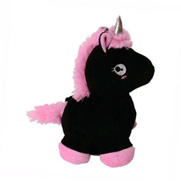 Laber-Einhorn Stofftier mit Sprachwiedergabe in schwarz - Plapper-Einhorn Plüschfigur Spielzeug Regenbogen - 2