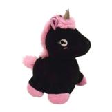 Laber-Einhorn Stofftier mit Sprachwiedergabe in schwarz - Plapper-Einhorn Plüschfigur Spielzeug Regenbogen - 1