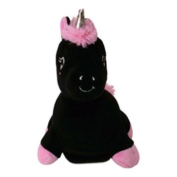 Laber-Einhorn Stofftier mit Sprachwiedergabe in schwarz - Plapper-Einhorn Plüschfigur Spielzeug Regenbogen - 3