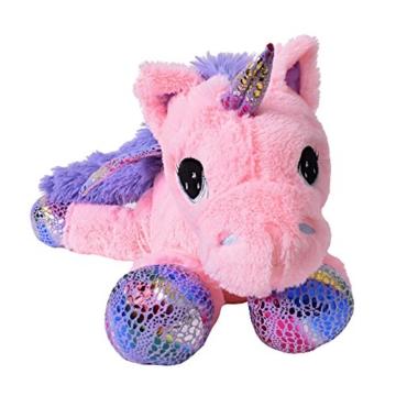 TE-Trend Plüschpferd Einhorn Unicorn liegend 60cm pink mit lila Applikationen und Flügel - 2