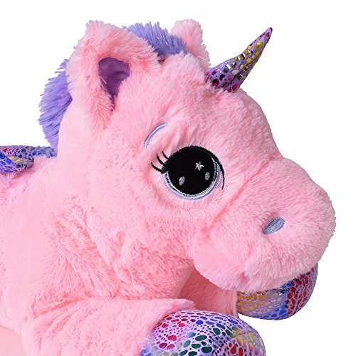 TE-Trend Plüschpferd Einhorn Unicorn liegend 60cm pink mit lila Applikationen und Flügel - 3