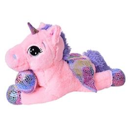 TE-Trend Plüschpferd Einhorn Unicorn liegend 60cm pink mit lila Applikationen und Flügel - 1