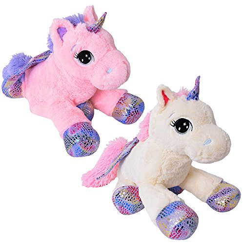 TE-Trend Plüschpferd Einhorn Unicorn liegend 60cm pink mit lila Applikationen und Flügel - 5