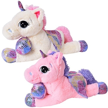 TE-Trend Plüschpferd Einhorn Unicorn liegend 60cm pink mit lila Applikationen und Flügel - 6
