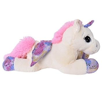 TE-Trend Plüschpferd Einhorn Unicorn liegend 60cm pink oder weiß mit lila Applikationen und Flügel (weiß) - 2
