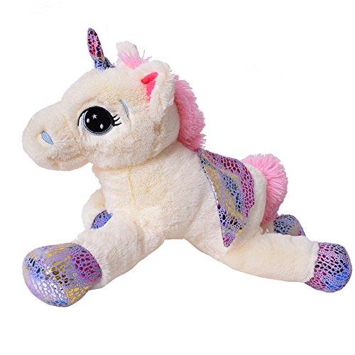 TE-Trend Plüschpferd Einhorn Unicorn liegend 60cm pink oder weiß mit lila Applikationen und Flügel (weiß) - 3