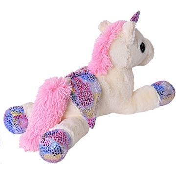 TE-Trend Plüschpferd Einhorn Unicorn liegend 60cm pink oder weiß mit lila Applikationen und Flügel (weiß) - 4