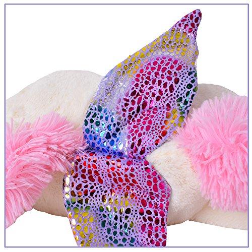 TE-Trend Plüschpferd Einhorn Unicorn liegend 60cm pink oder weiß mit lila Applikationen und Flügel (weiß) - 5