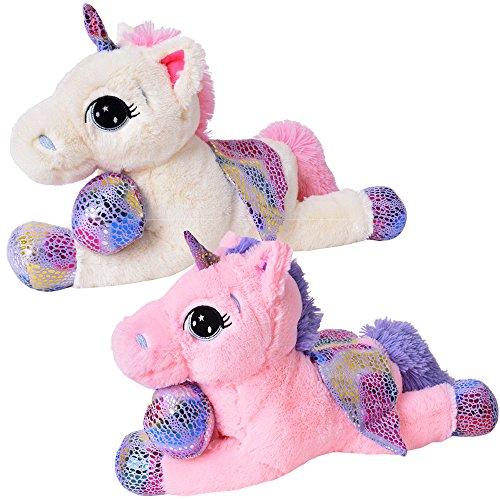 TE-Trend Plüschpferd Einhorn Unicorn liegend 60cm pink oder weiß mit lila Applikationen und Flügel (weiß) - 7