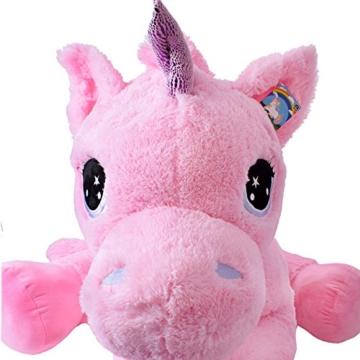 TE-Trend Plüschpferd Pferd XXL Einhorn Unicorn liegend 130cm rosa mit lila Glitzerhorn und ausdrucksvollen Augen - 2