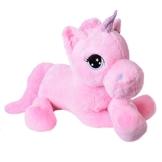 TE-Trend Plüschpferd Pferd XXL Einhorn Unicorn liegend 130cm rosa mit lila Glitzerhorn und ausdrucksvollen Augen - 1