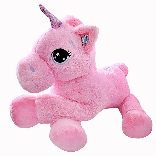 TE-Trend Plüschpferd Pferd XXL Einhorn Unicorn liegend 130cm rosa mit lila Glitzerhorn und ausdrucksvollen Augen - 3