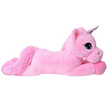 TE-Trend Plüschpferd Pferd XXL Einhorn Unicorn liegend 130cm rosa mit lila Glitzerhorn und ausdrucksvollen Augen - 5