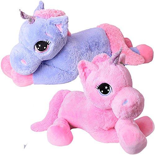 TE-Trend Plüschpferd Pferd XXL Einhorn Unicorn liegend 130cm rosa mit lila Glitzerhorn und ausdrucksvollen Augen - 6