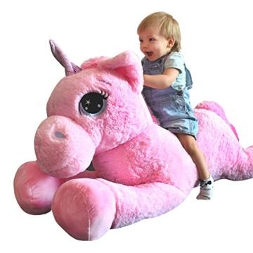 TE-Trend Plüschpferd Pferd XXL Einhorn Unicorn liegend 130cm rosa mit lila Glitzerhorn und ausdrucksvollen Augen - 7
