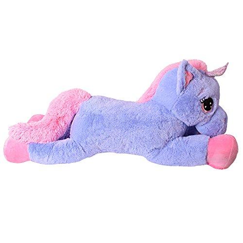 TE-Trend Plüschpferd Pferd XXL Einhorn Unicorn liegend 130cm rosa mit lila Glitzerhorn und ausdrucksvollen Augen - 8